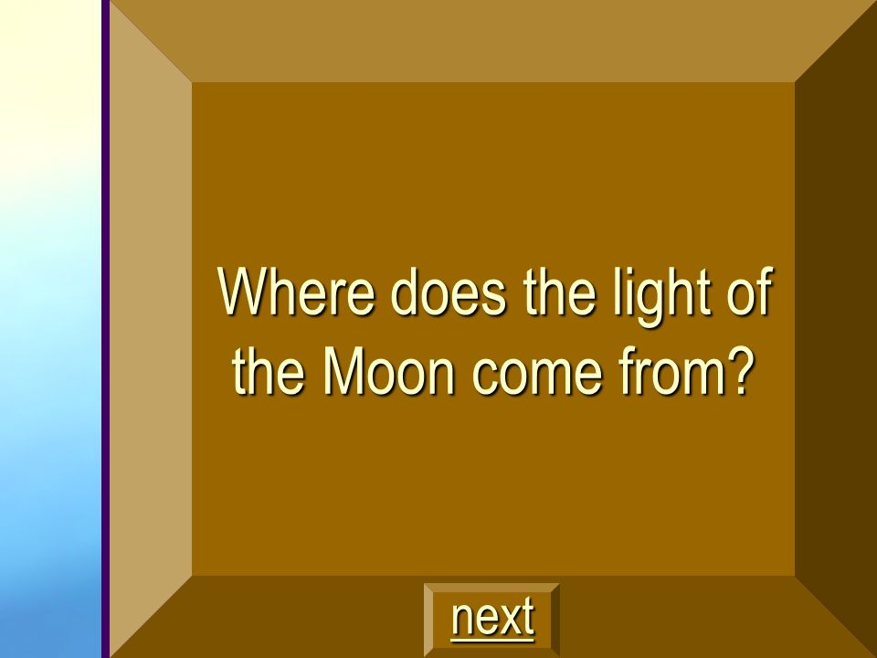 Where does the light of the Moon come from