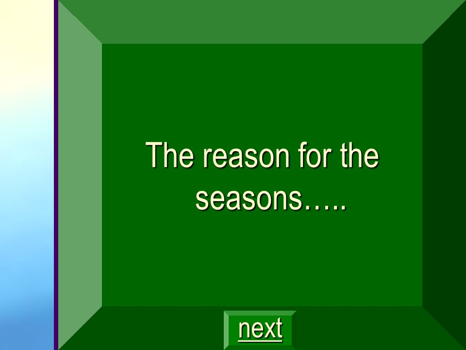 The reason for the seasons…..