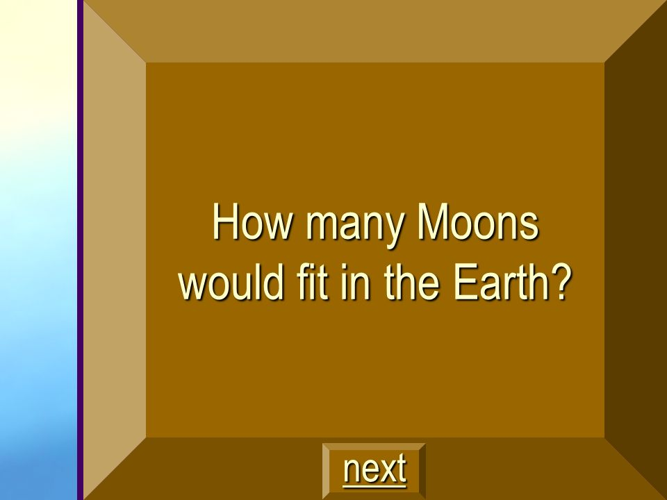 How many Moons would fit in the Earth