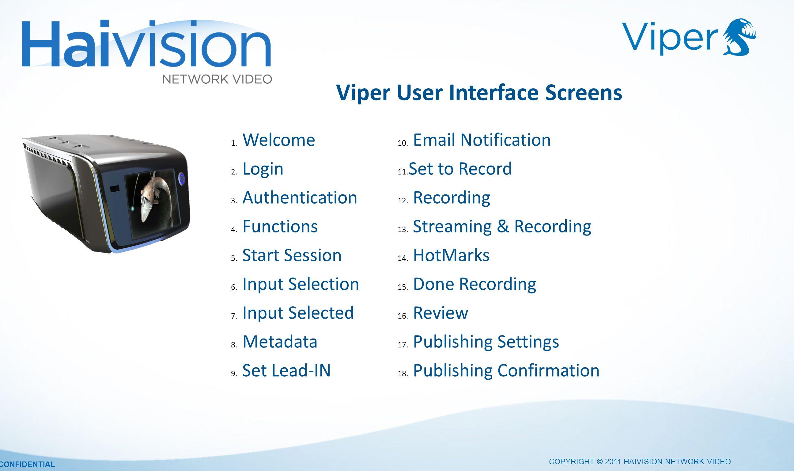 Viper User Interface Screens