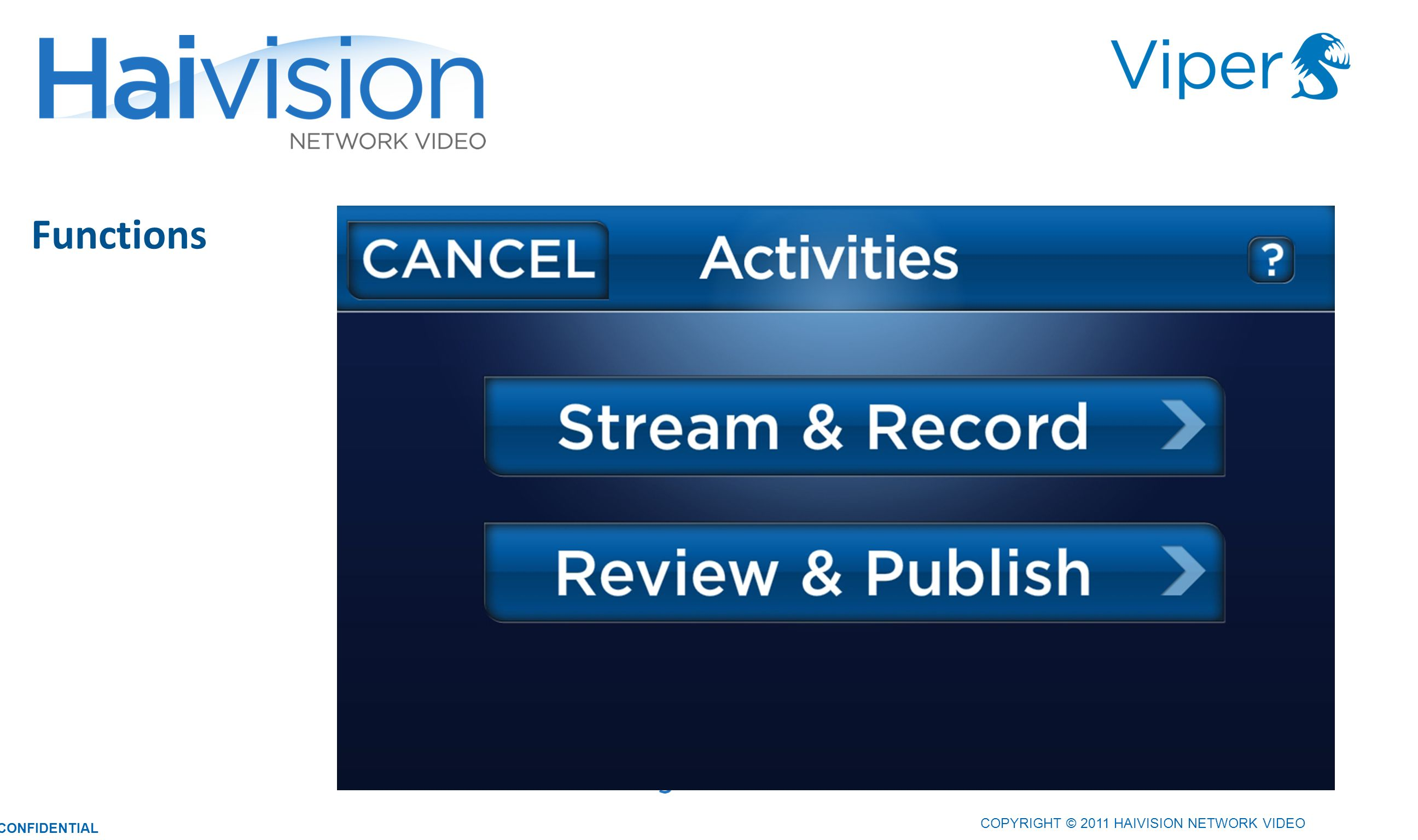 2121 Functions COPYRIGHT © 2011 HAIVISION NETWORK VIDEO CONFIDENTIAL