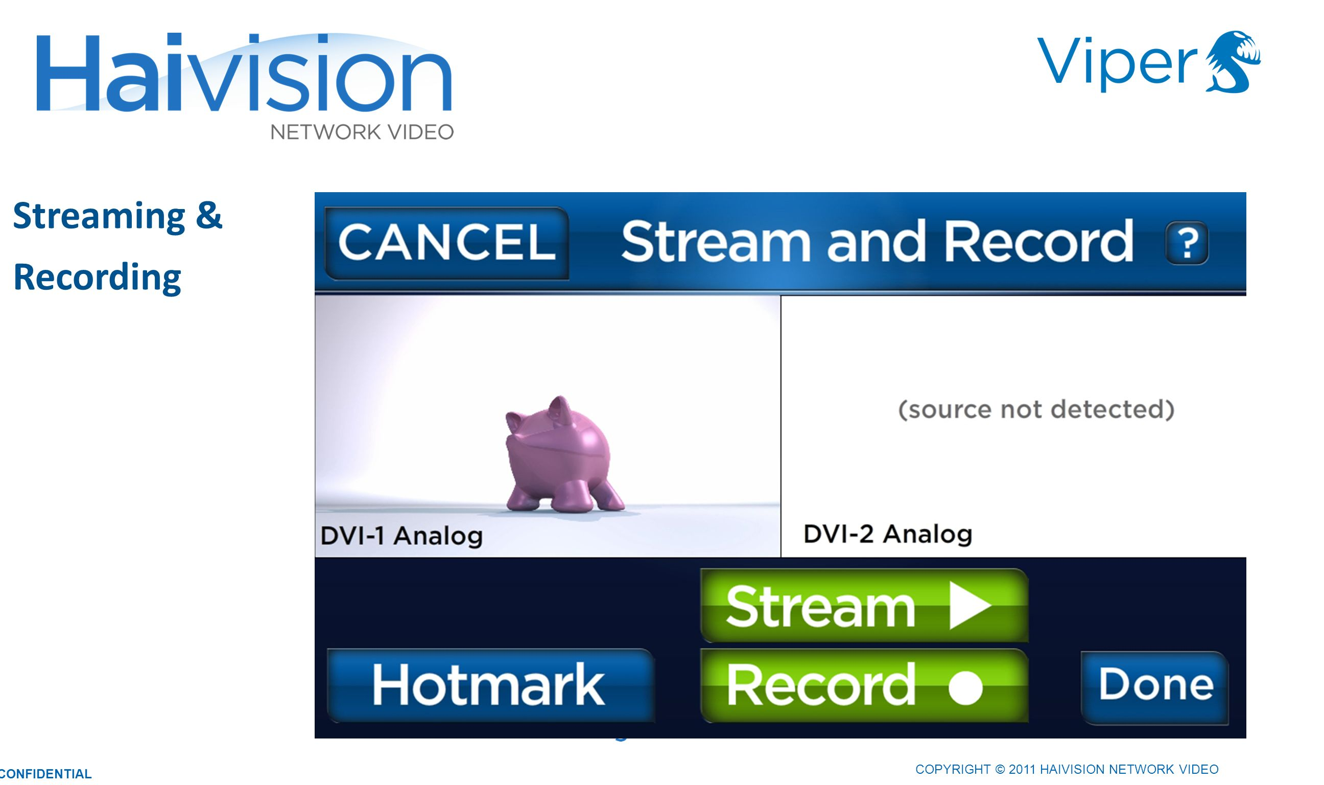 Streaming & Recording 3030 COPYRIGHT © 2011 HAIVISION NETWORK VIDEO