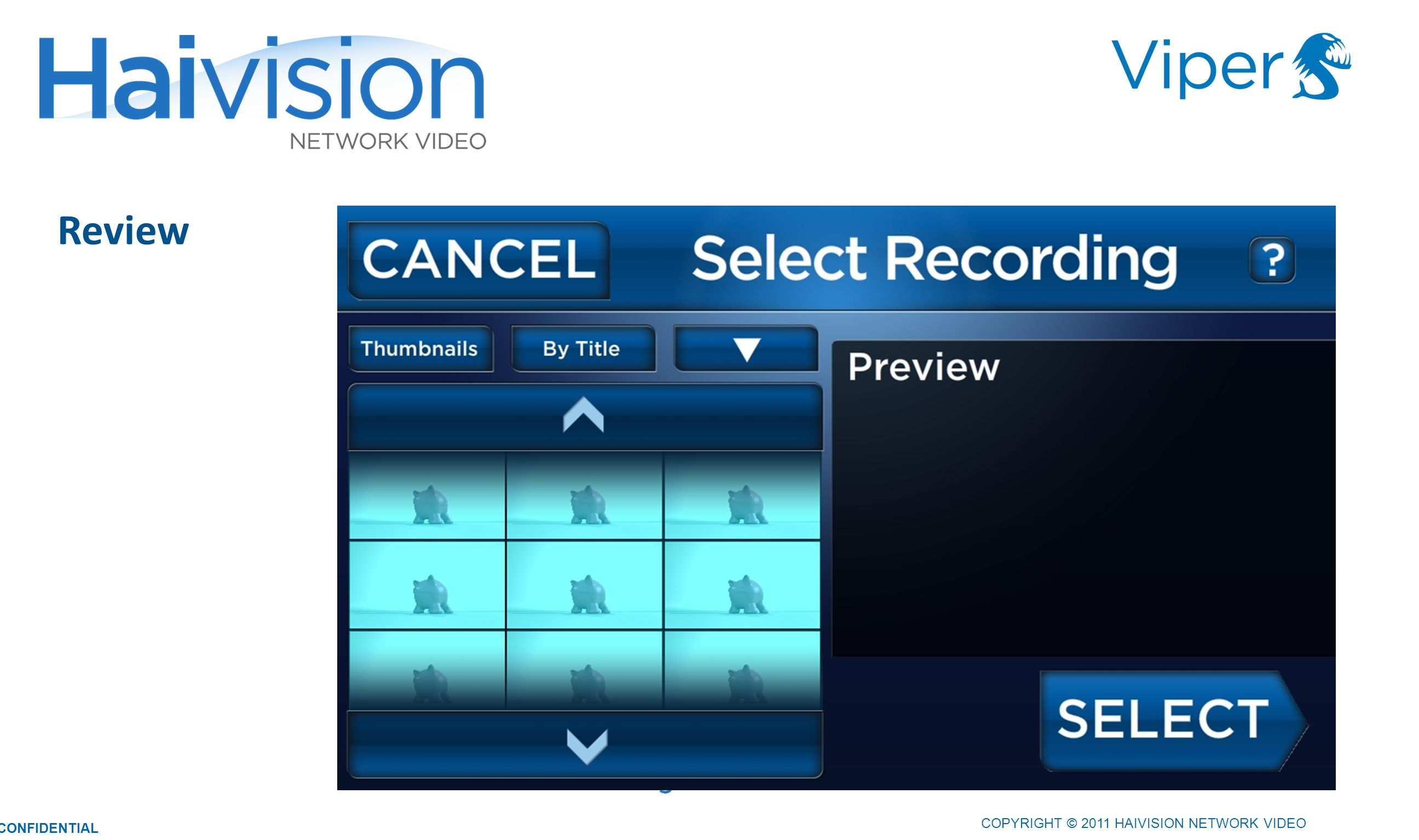 3333 Review COPYRIGHT © 2011 HAIVISION NETWORK VIDEO CONFIDENTIAL