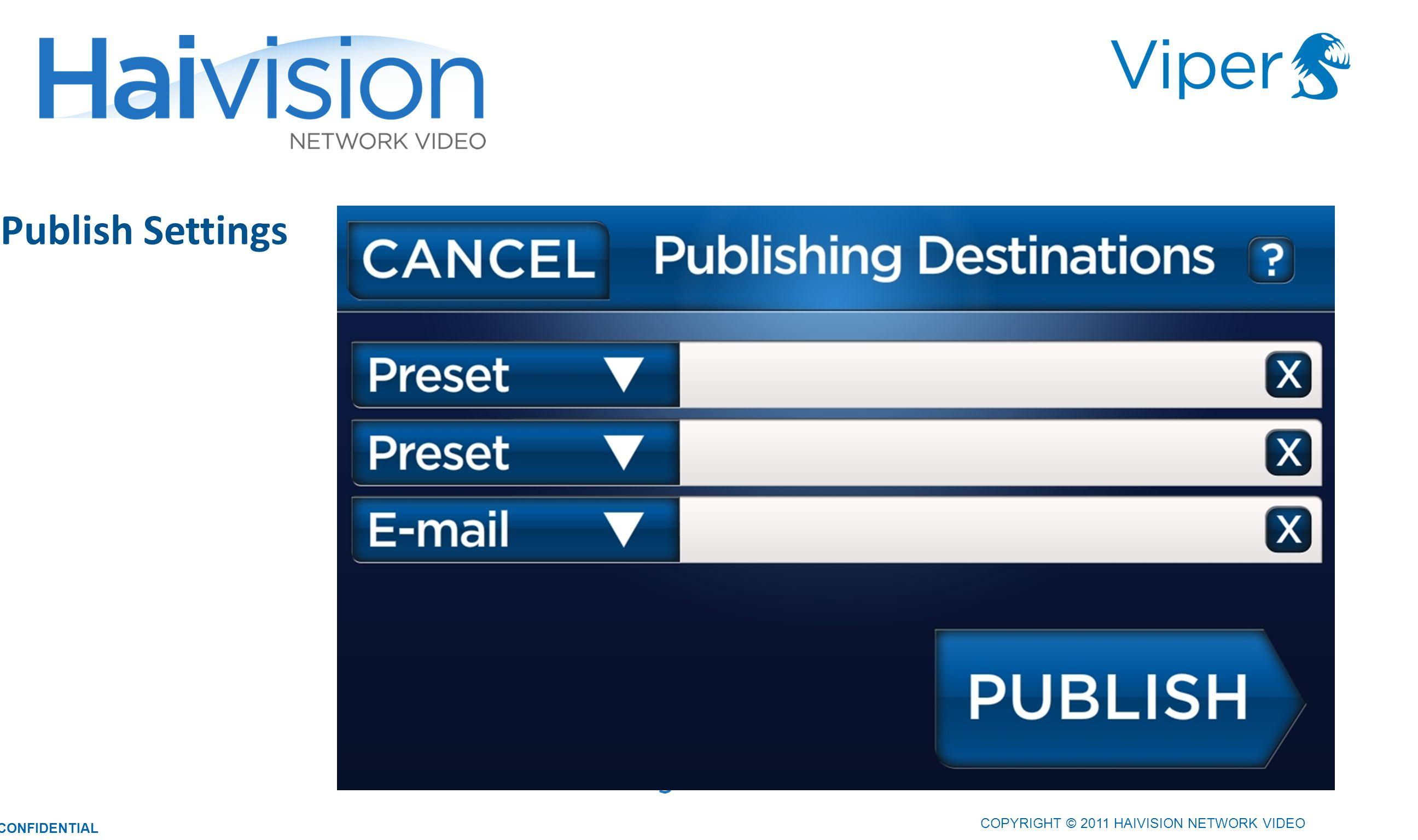 Publish Settings 3434 COPYRIGHT © 2011 HAIVISION NETWORK VIDEO