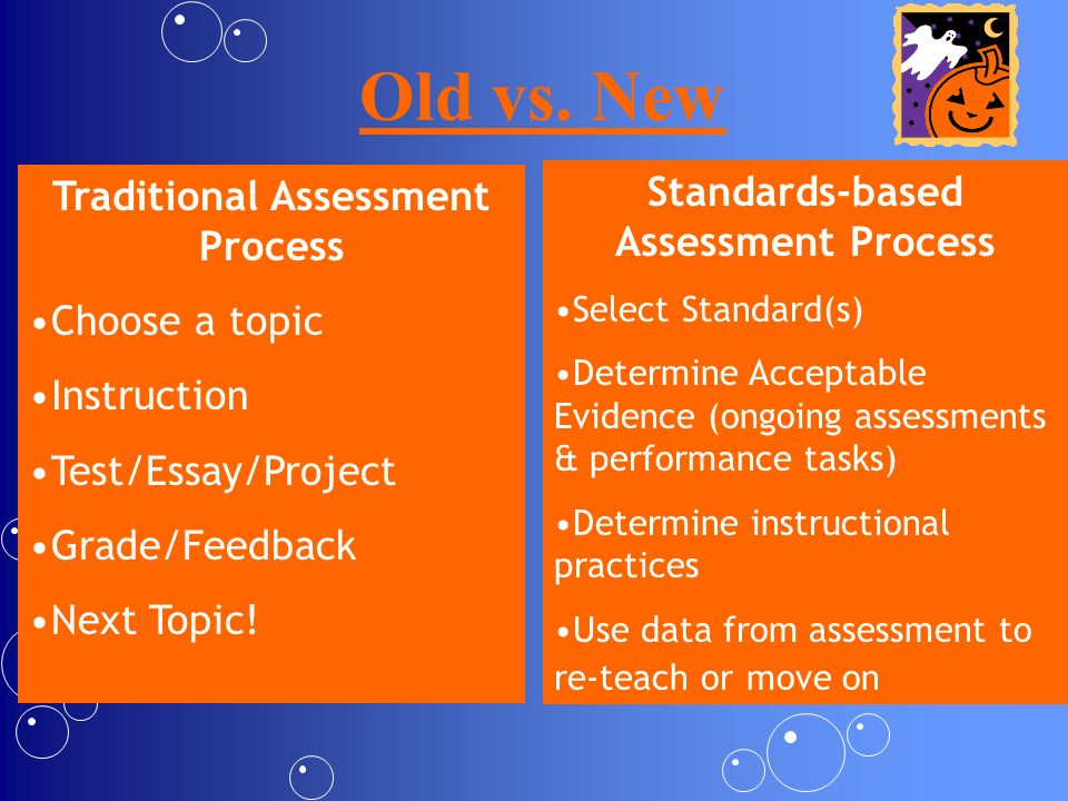 Traditional Assessment Process Standards-based Assessment Process