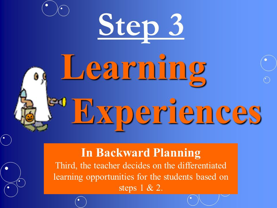 Learning Experiences Step 3 In Backward Planning