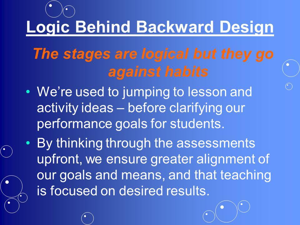 Logic Behind Backward Design