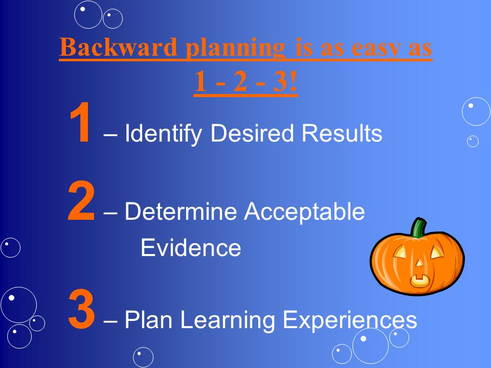 Backward planning is as easy as 1 - 2 - 3!