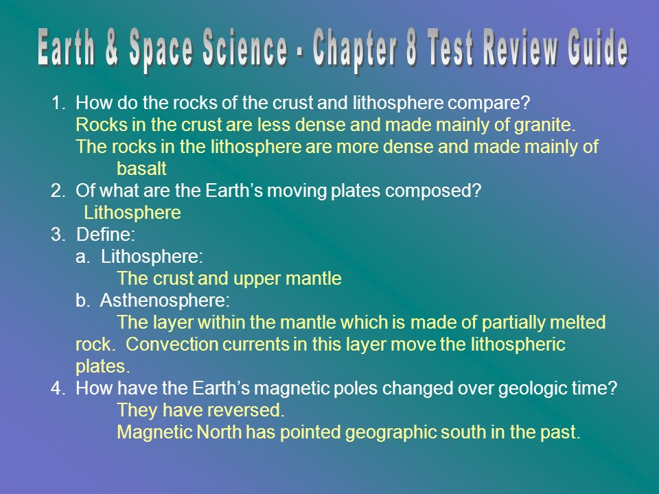Earth & Space Science - Chapter 8 Test Review Guide