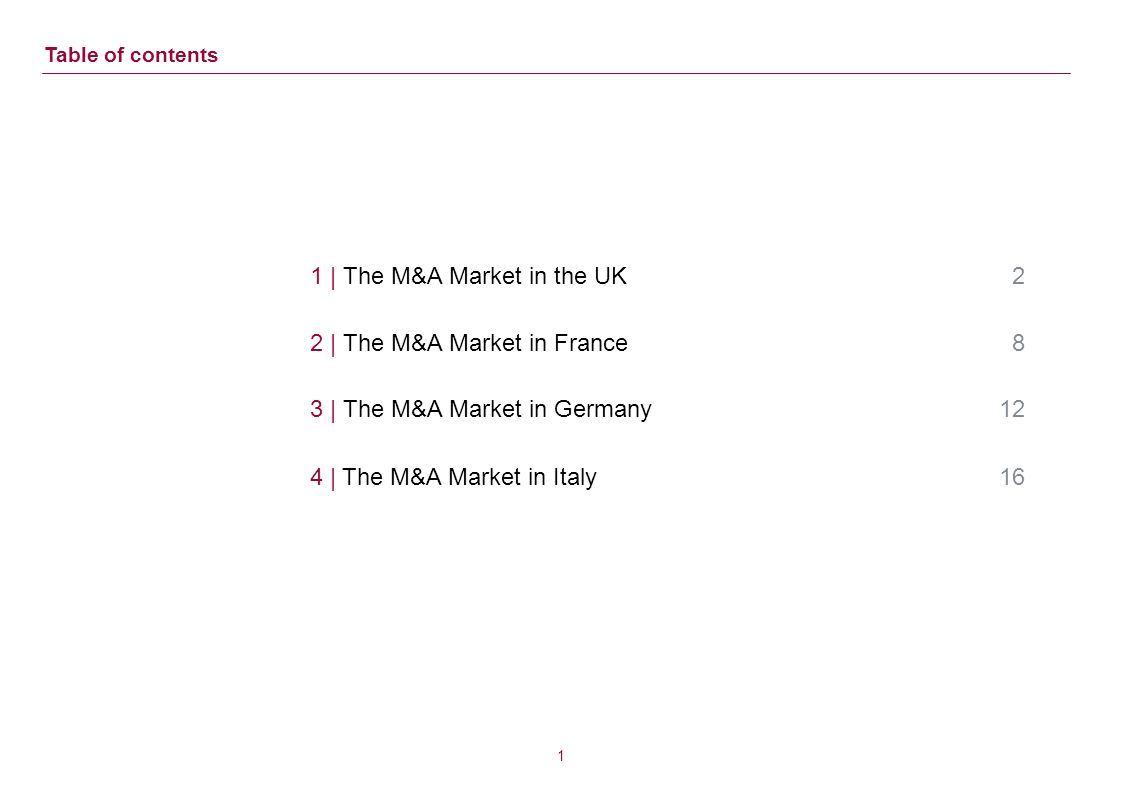 1 | The M&A Market in the UK 2 2 | The M&A Market in France 8