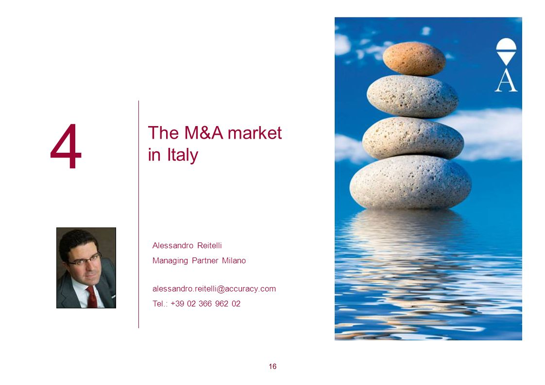 4 The M&A market in Italy Alessandro Reitelli Managing Partner Milano