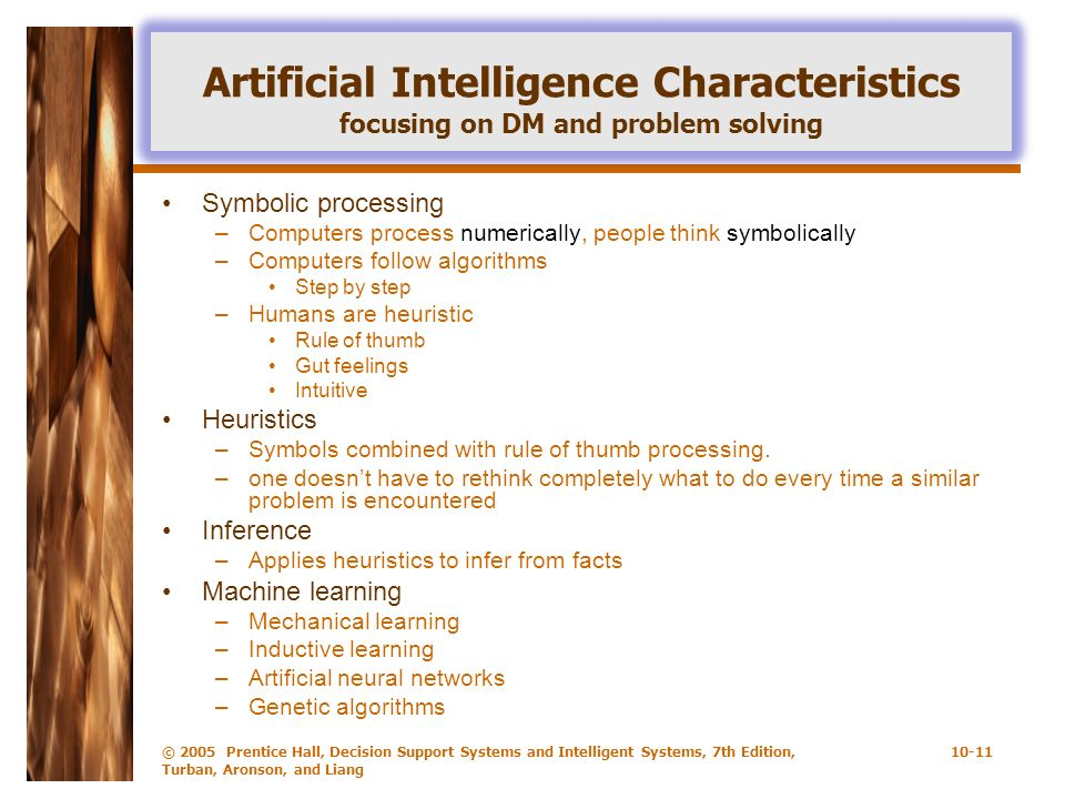 Artificial Intelligence Characteristics focusing on DM and problem solving