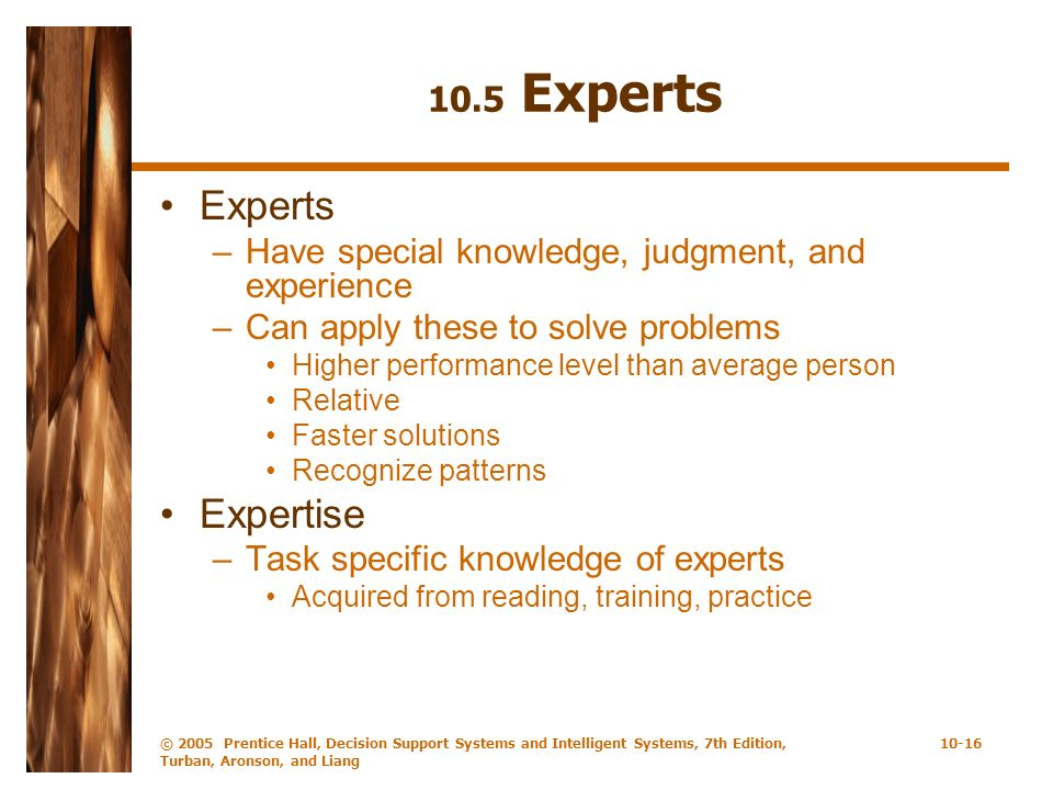 Experts Expertise 10.5 Experts