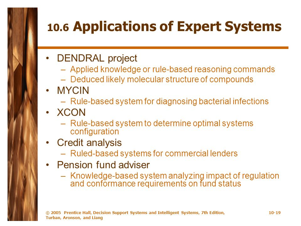 10.6 Applications of Expert Systems