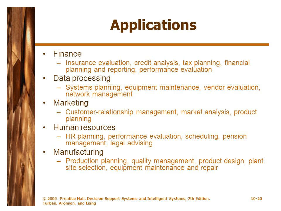 Applications Finance Data processing Marketing Human resources