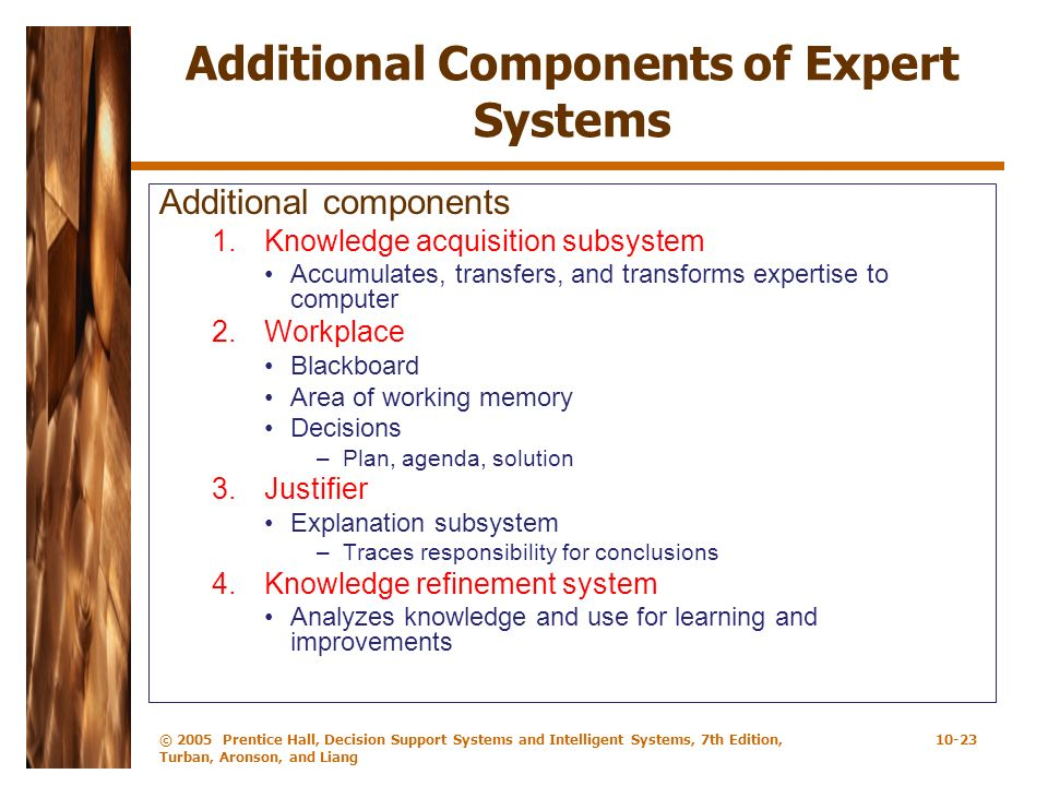 Additional Components of Expert Systems