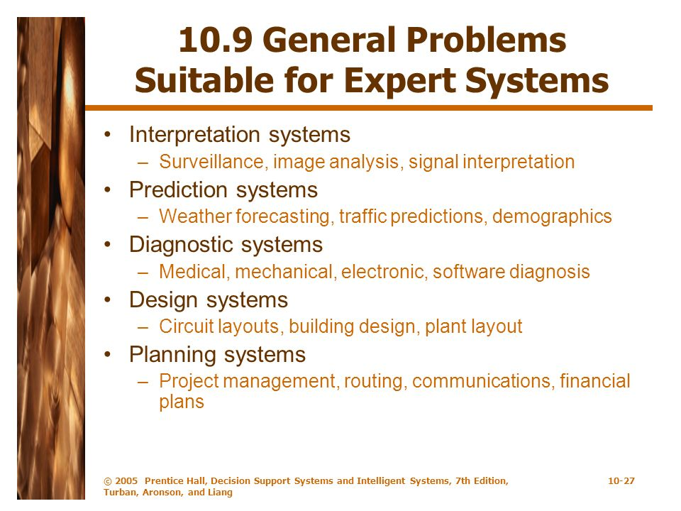 10.9 General Problems Suitable for Expert Systems