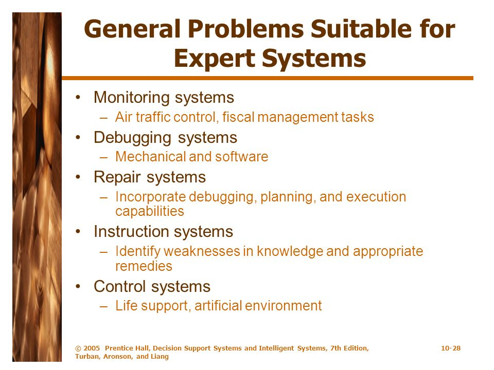 General Problems Suitable for Expert Systems