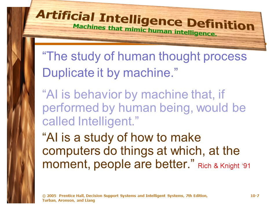 Artificial Intelligence Definition Machines that mimic human intelligence.