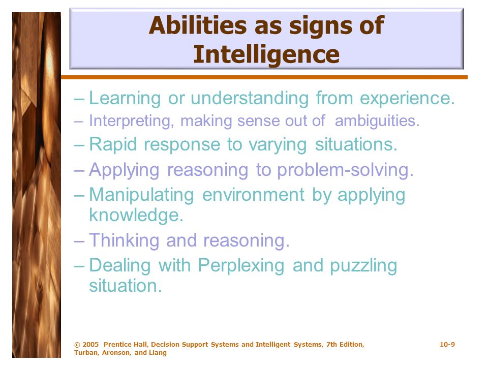 Abilities as signs of Intelligence