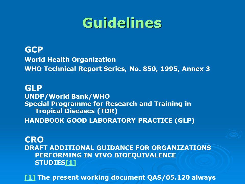 Guidelines GCP GLP CRO World Health Organization