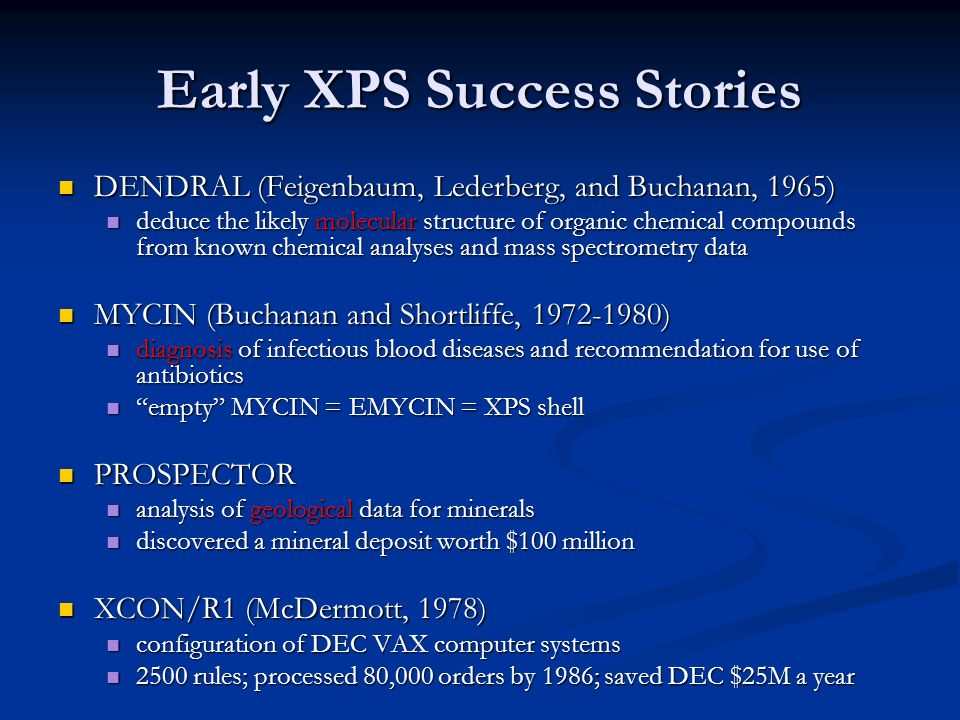 Early XPS Success Stories