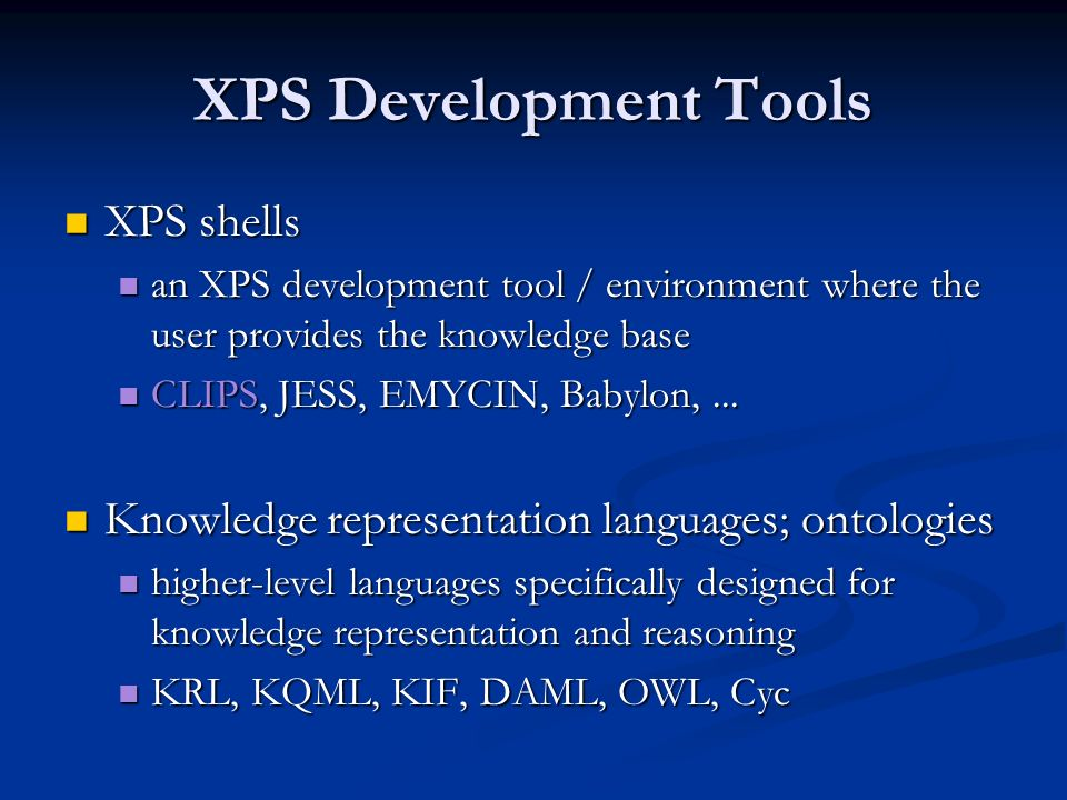 XPS Development Tools XPS shells