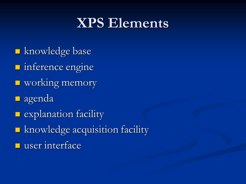 XPS Elements knowledge base inference engine working memory agenda