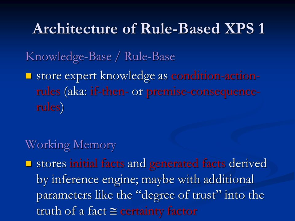 Architecture of Rule-Based XPS 1