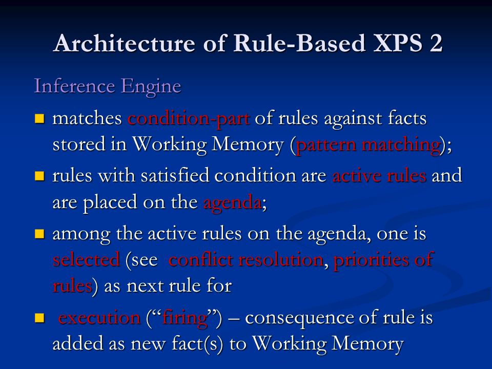 Architecture of Rule-Based XPS 2