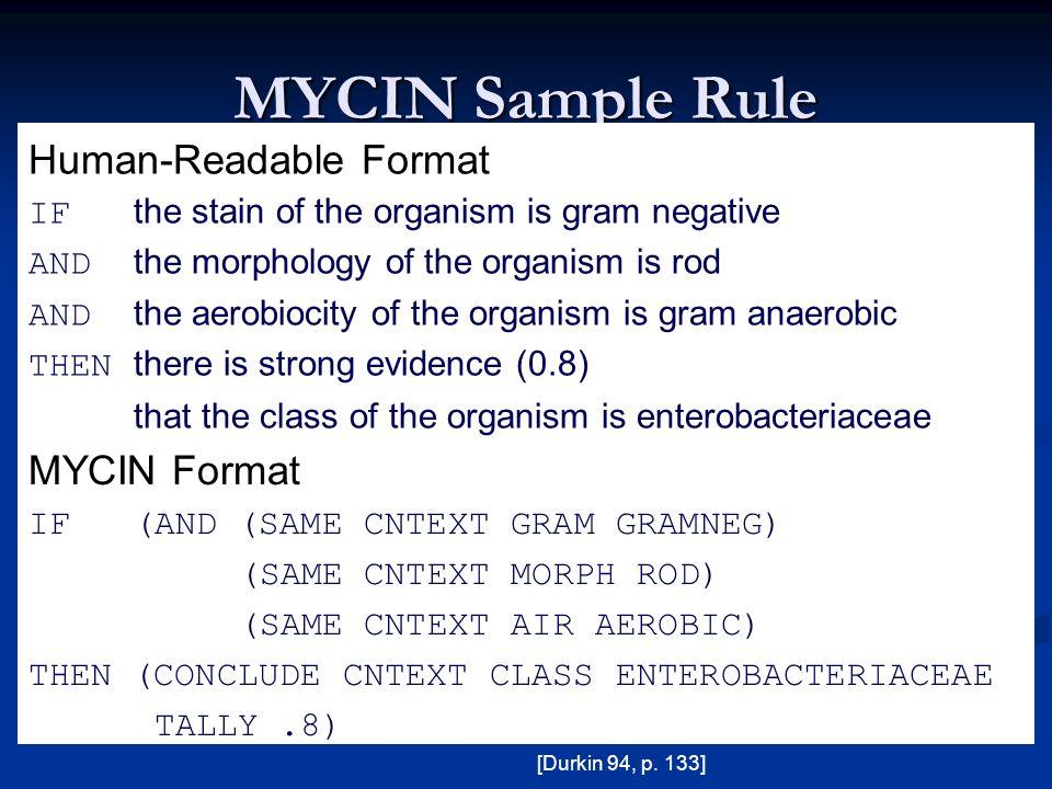 MYCIN Sample Rule Human-Readable Format MYCIN Format