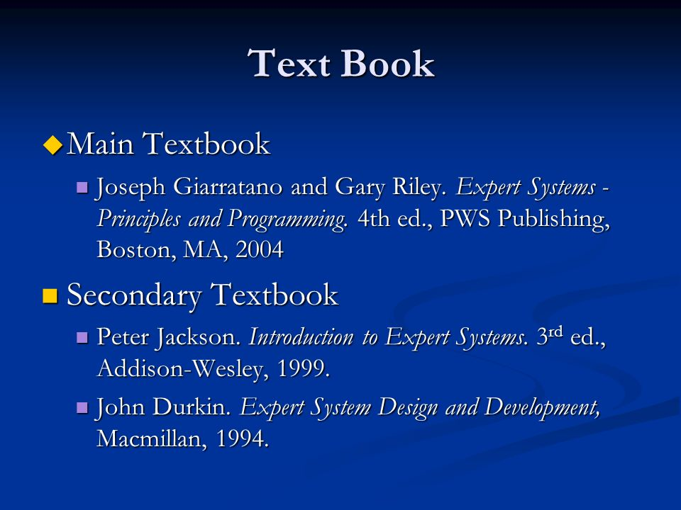 Text Book Main Textbook Secondary Textbook