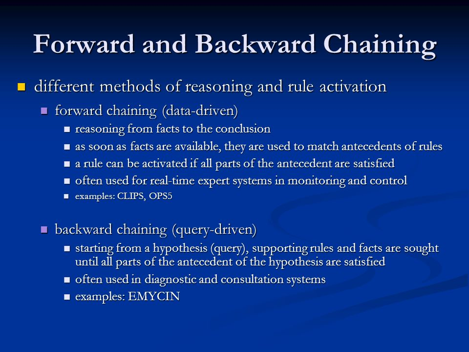 Forward and Backward Chaining