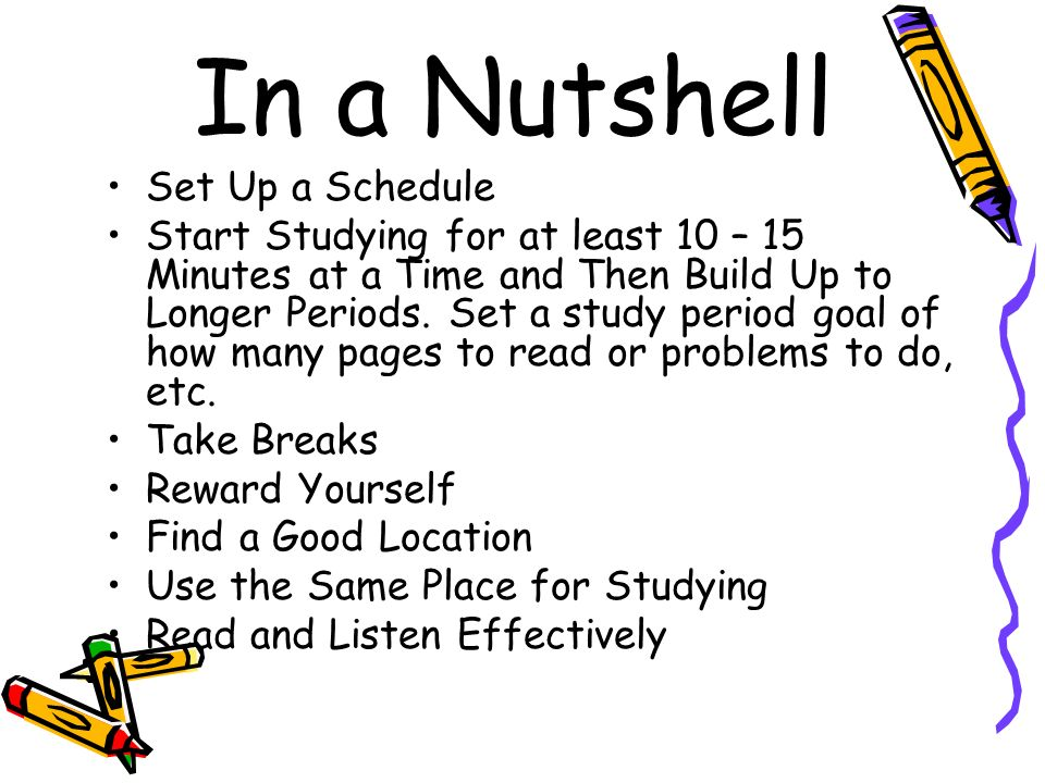 In a Nutshell Set Up a Schedule