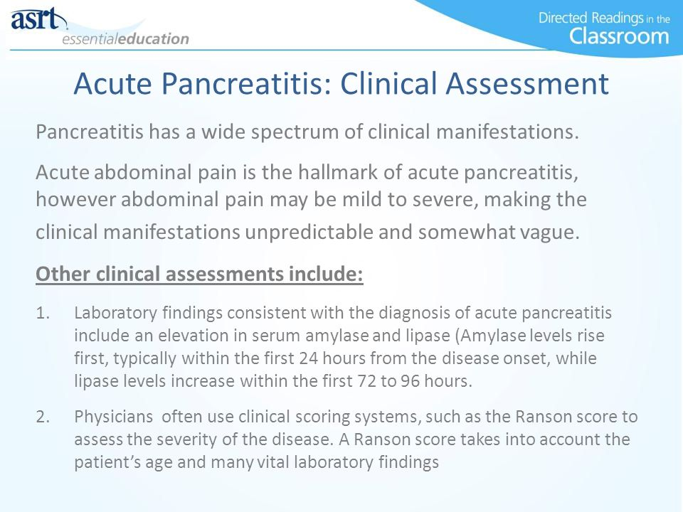 Acute Pancreatitis: Clinical Assessment
