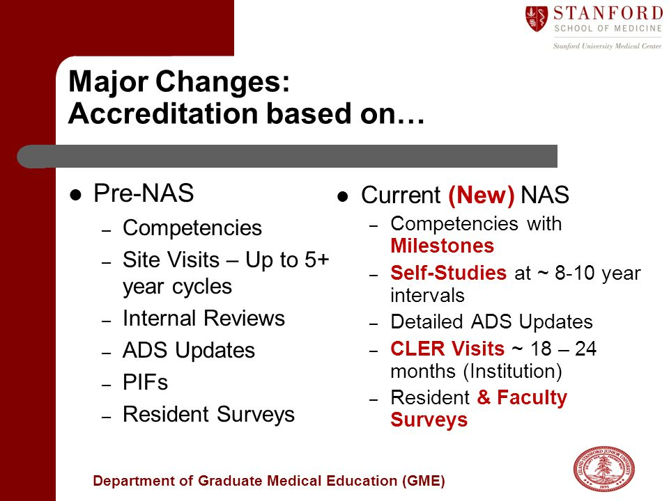 Major Changes: Accreditation based on…