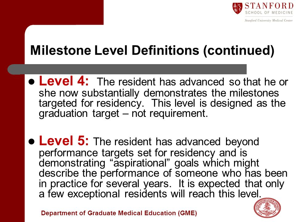 Milestone Level Definitions (continued)