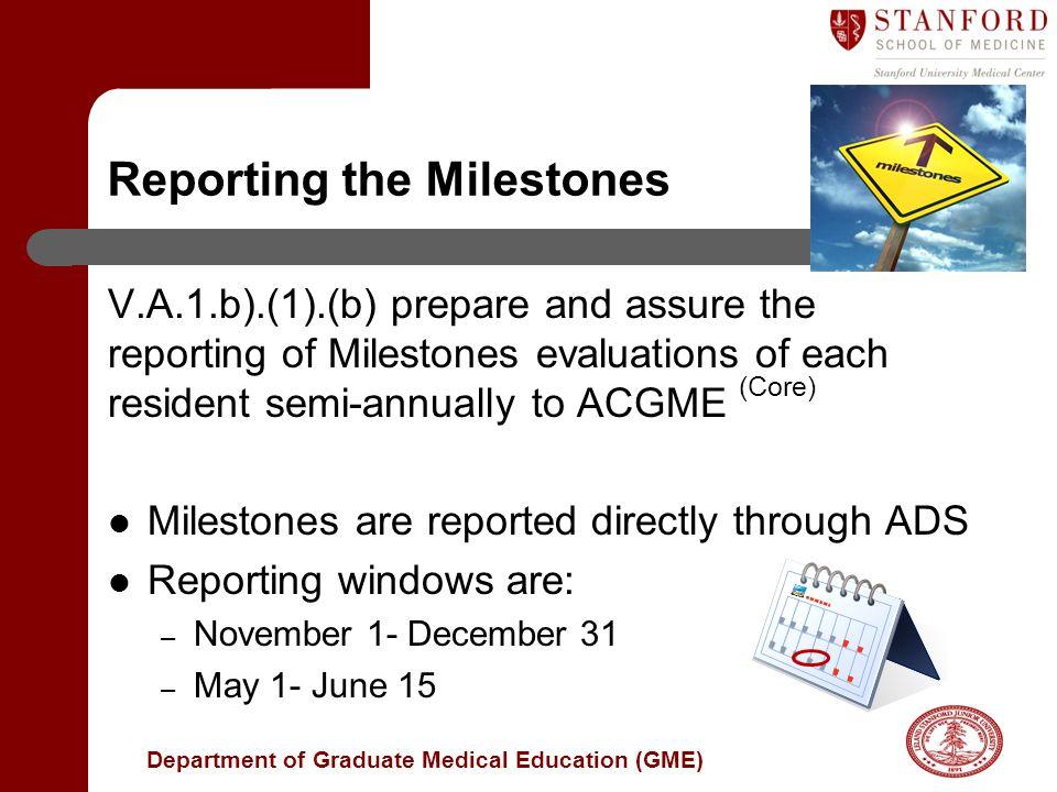 Reporting the Milestones