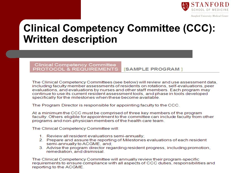 Clinical Competency Committee (CCC): Written description