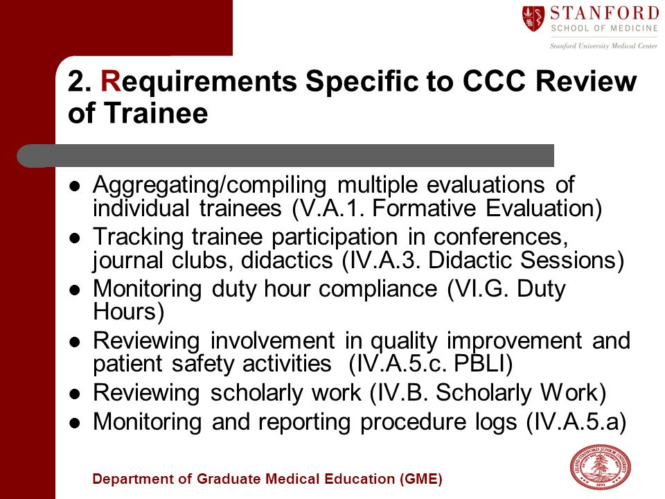 2. Requirements Specific to CCC Review of Trainee