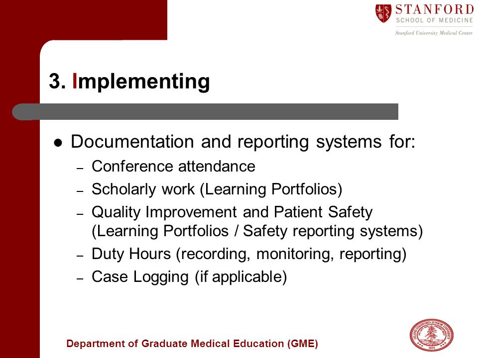 3. Implementing Documentation and reporting systems for: