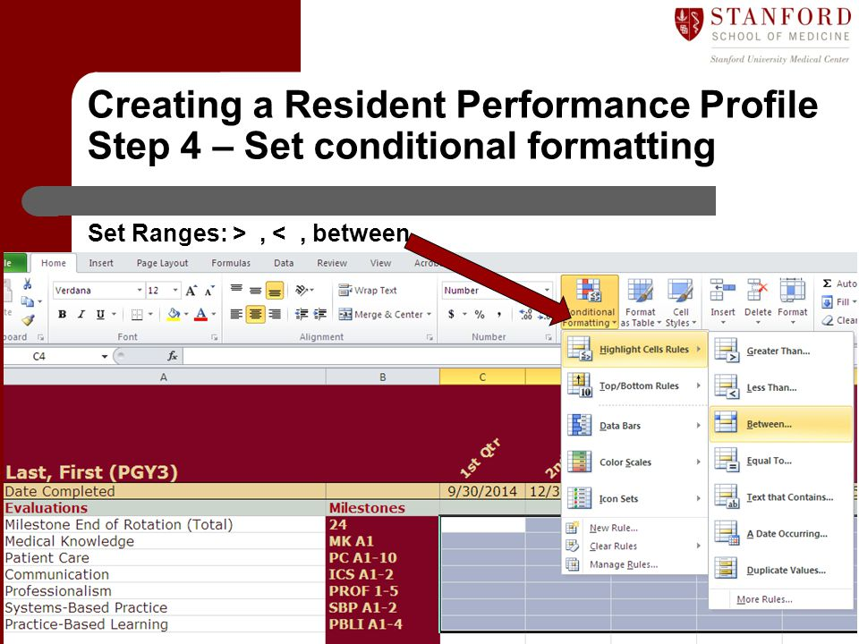 Creating a Resident Performance Profile Step 4 – Set conditional formatting