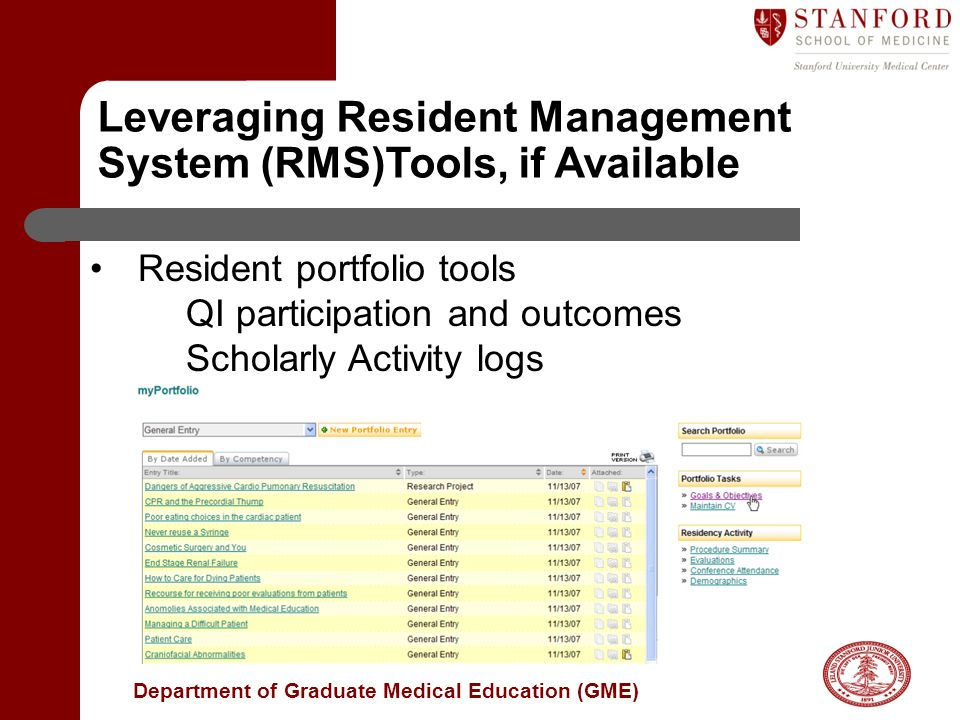 Leveraging Resident Management System (RMS)Tools, if Available