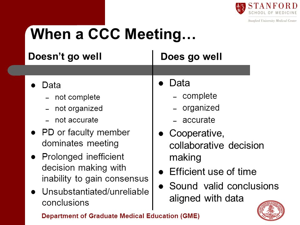 When a CCC Meeting… Does go well Doesn't go well Data