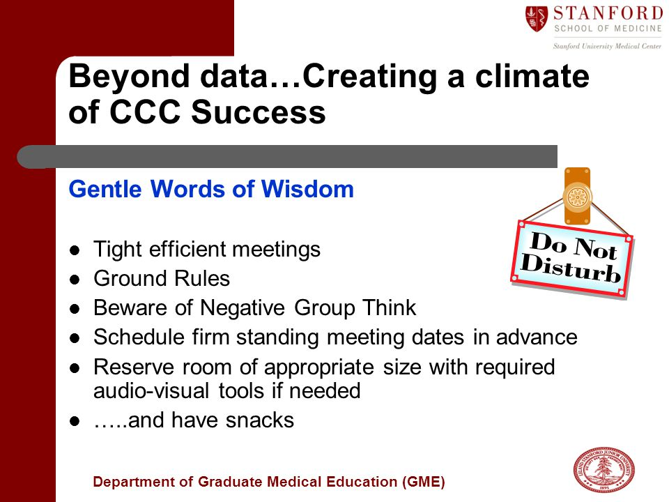 Beyond data…Creating a climate of CCC Success