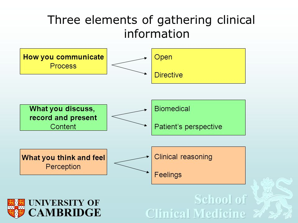 Three elements of gathering clinical information