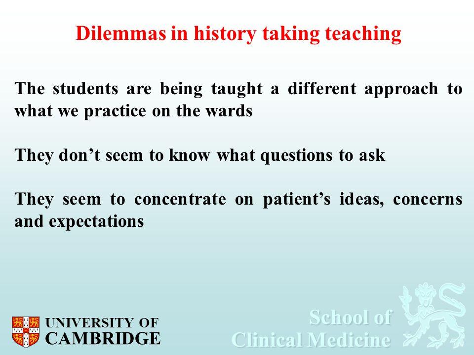 Dilemmas in history taking teaching