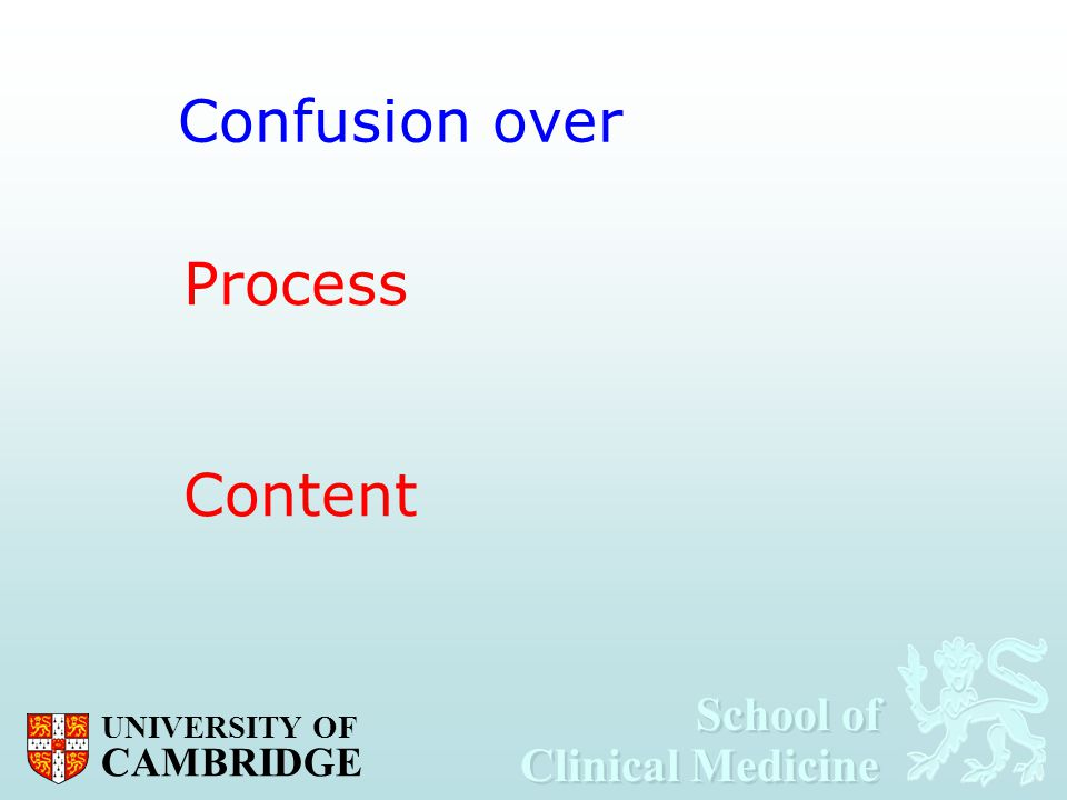 Confusion over Process Content