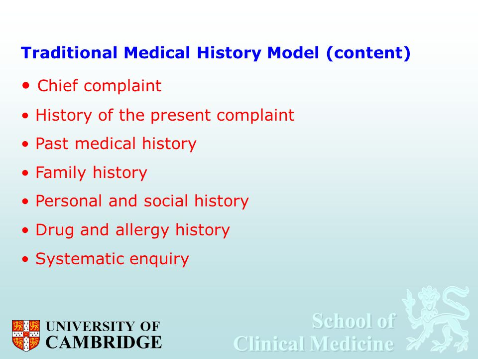 Chief complaint Traditional Medical History Model (content)