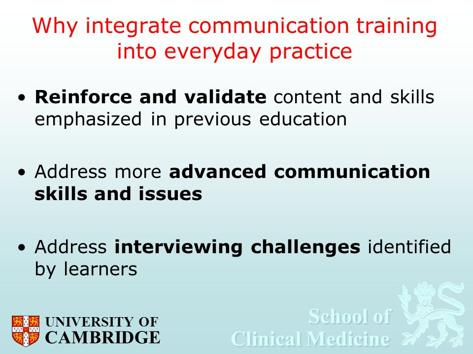 Why integrate communication training into everyday practice
